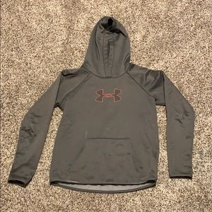 Gray and coral under armour sweatshirt